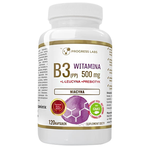 PROGRESS LABS Niacyna Witamina B3 (PP) 500mg + Inulina 120 caps